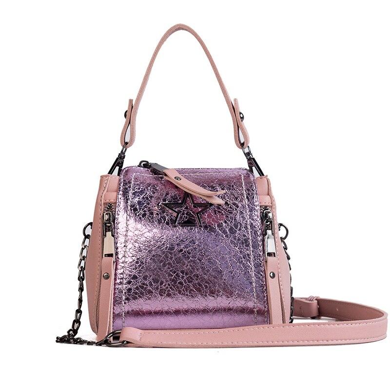 Mirror pleated pu leather totes star decoration women crossbody bags saffiano zipper female handbags Tassel shoulder bag ladies