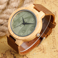Hechas a mano Del Brazalete Naturaleza Wood Green/Brown Dial reloj de Pulsera Reloj de Cuarzo Mujeres de Los Hombres de Bambú Patrón de Correa de Cuero Genuina Masculina reloj Hora