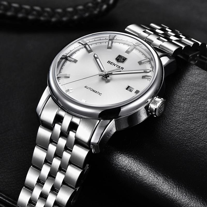 Image 5 - New Men's Watches Benyar Fashion Automatic Mechanical Wristwatches Mens Waterproof Sport Clock Steel Watch Men Relogio Masculino-in Mechanical Watches from Watches