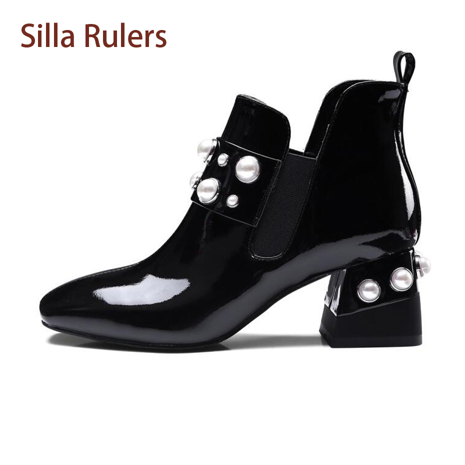 Silla Rulers Autumn Winter New Patent Leather Women Ankle Boots Fashion Square Toe Pearl Heel Chelsea Boots Woman Elastic Pumps winter autumn chelsea ankle boots women