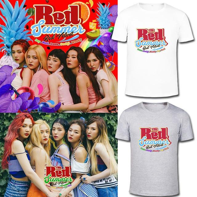31f7ee8d1bd3c4 KPOP Korean Fashion Red Velvet 2017 New Album The Red Summer Cotton Tshirt K -POP T Shirts T-shirts PT527
