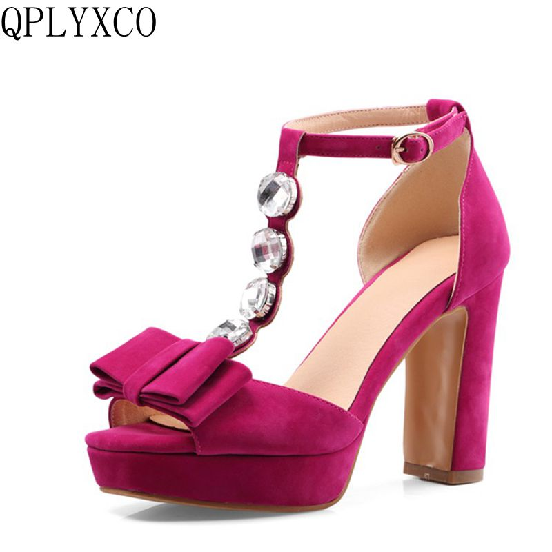 QPLYXCO 2017 New  sale Big Small Size 32-46 Summer Style Sandals fashion Elegant Lady High Heel(10CM) wedding Party shoes 2091 qplyxco 2017 sale big