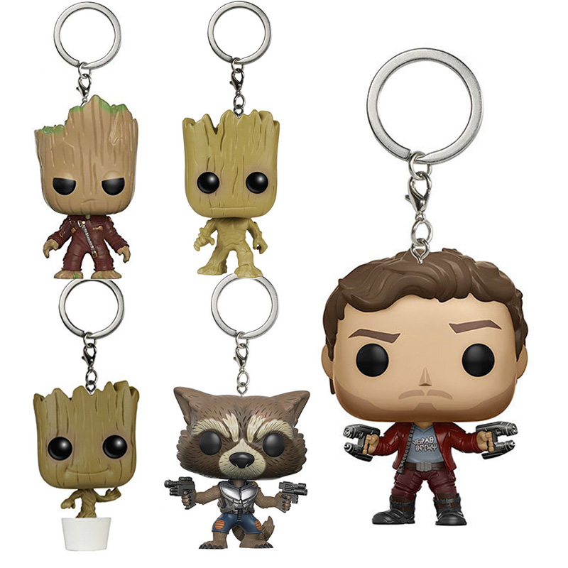 Guardians Of The Galaxy Movie Theme Key Ring Super Cute Grout Star Lord Rocket Raccoon Action Figure Collectible Model Toys Gift чехол для карточек cute raccoon дк2017 114