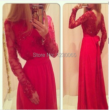 Real Sample Red Lace Beads Elegant Backless Women Winter Long Sleeve Floor Length Gown Evening Prom Dresses Chiffon 2015 bow