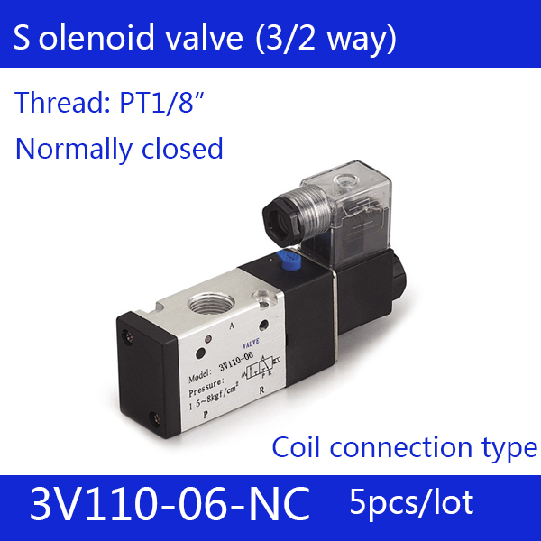 5PCS Free shipping good qualty 3 port 2 position Solenoid Valve 3V110-06-NC normally closed, DC24v,DC12V,AC110V,AC220V, 3/2way 1pcs free shipping pneumatic valve solenoid valve 3v410 15 nc normally closed dc24v ac220v 1 2 3 port 2 position 3 2 way