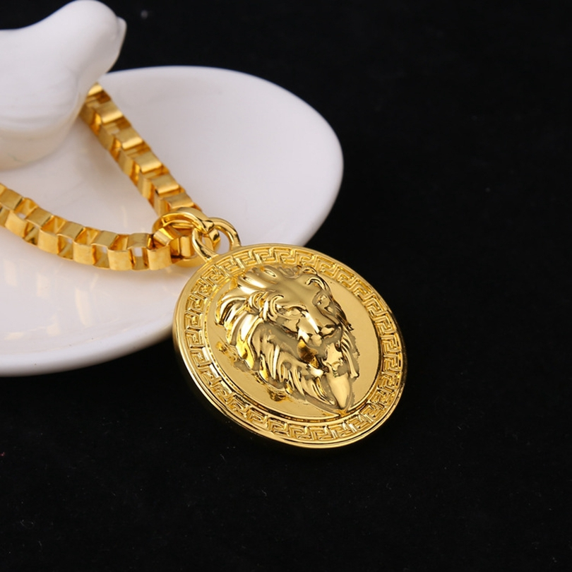 buy mens medallion lion pattern gold tone pendant necklace chain super long. Black Bedroom Furniture Sets. Home Design Ideas