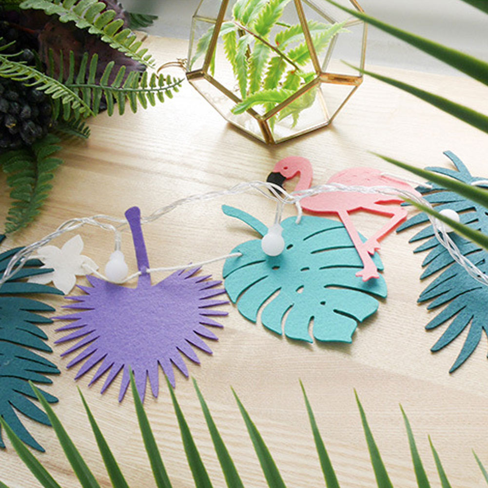 New Summer Flamingo Leaves Garland Light LED Photo Prop Tropical Luau Party Birthday Pool Home Decoration Flags Lamp BS