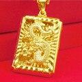 2017 Мода Настоящее 24 К Золотое Покрытие Ожерелье Кулон Человек Ювелирные Изделия китайский Дракон K Золотую Цепочку Хип-Хоп Ювелирные Изделия Рок стиль оптовая