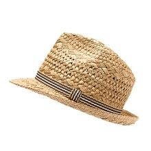 Moda 100% trabajo hecho a mano niño verano paja Sol sombrero chico Boho  Beach Fedora 38a2fb92b7f2