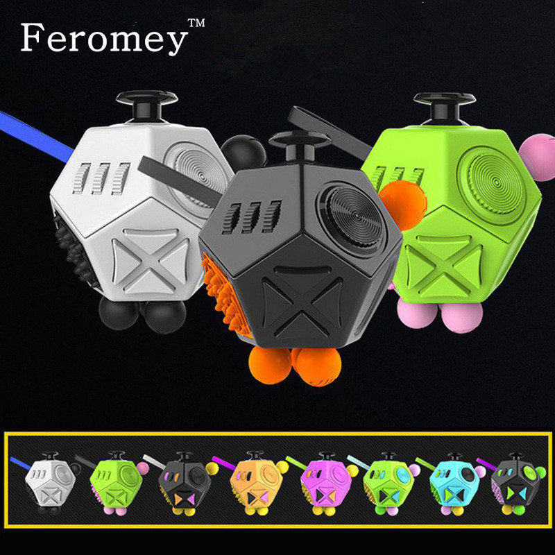 Promotion Fidget Cube Toys Six Sided Fidget Toys Anti Stress Magic Cube Figet Toys Squeeze Fun Stress Reliever Toys tri fidget hand spinner triangle metal finger focus toy adhd autism kids adult toys finger spinner toys gags