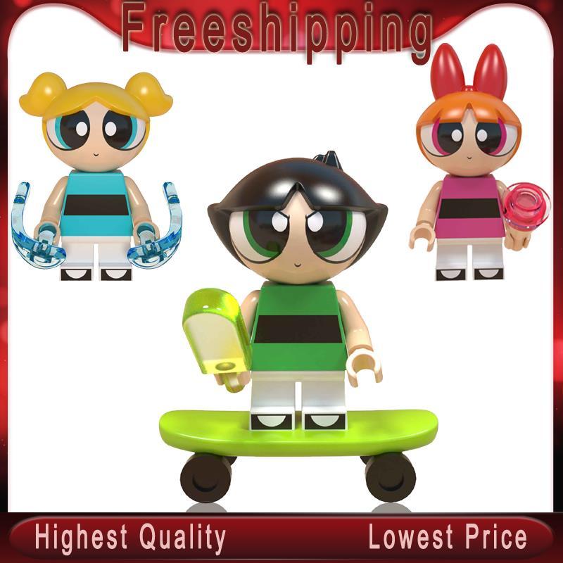The PowerpuffS Girls Building Blocks Buttercup Bubbles Blossom   Doll Toy Christmas Gift Children Toys WM6051