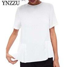 YNZZU Chiffon Pleated Women Tops 2019 Summer Casual O Neck Short Sleeve White T-Shirt Loose Office Lady Shirt YT579