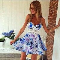 2017 Free Shipping Hot Sale 1PC Women Summer Dress Sleeveless Flower Print Vestidos Slim Wave Sexy
