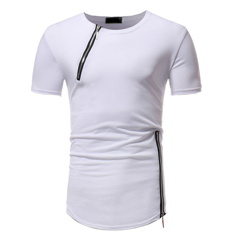 New Mens Clothing T Shirts Fashion Solid Color Round Neck Zipper Stitching Slim Short Sleeve Tshirt Male Tops 3colour
