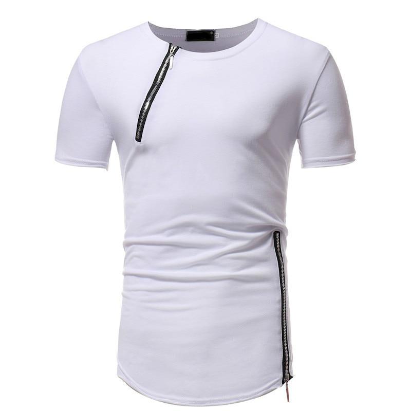 新メンズ服 Tシャツファッション無地ラウンドネックジッパーステッチスリム半袖 Tシャツ男性トップス 3 色