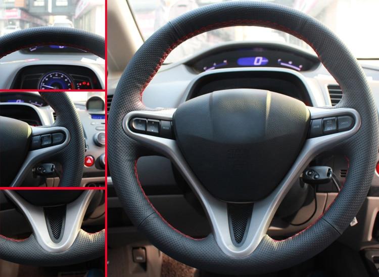 AOSRRUN bilstyling Läder Handstygd bil ratt kåpa till Honda Civic - Bil interiör tillbehör - Foto 3