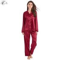 Tony & Candice Frauen Seidenpyjamas 2-Peice Set Satin Seide Pijama Damen Nachtwäsche Weiche Schlafanzug Anzug Langen Ärmeln Nachthemd Homewear