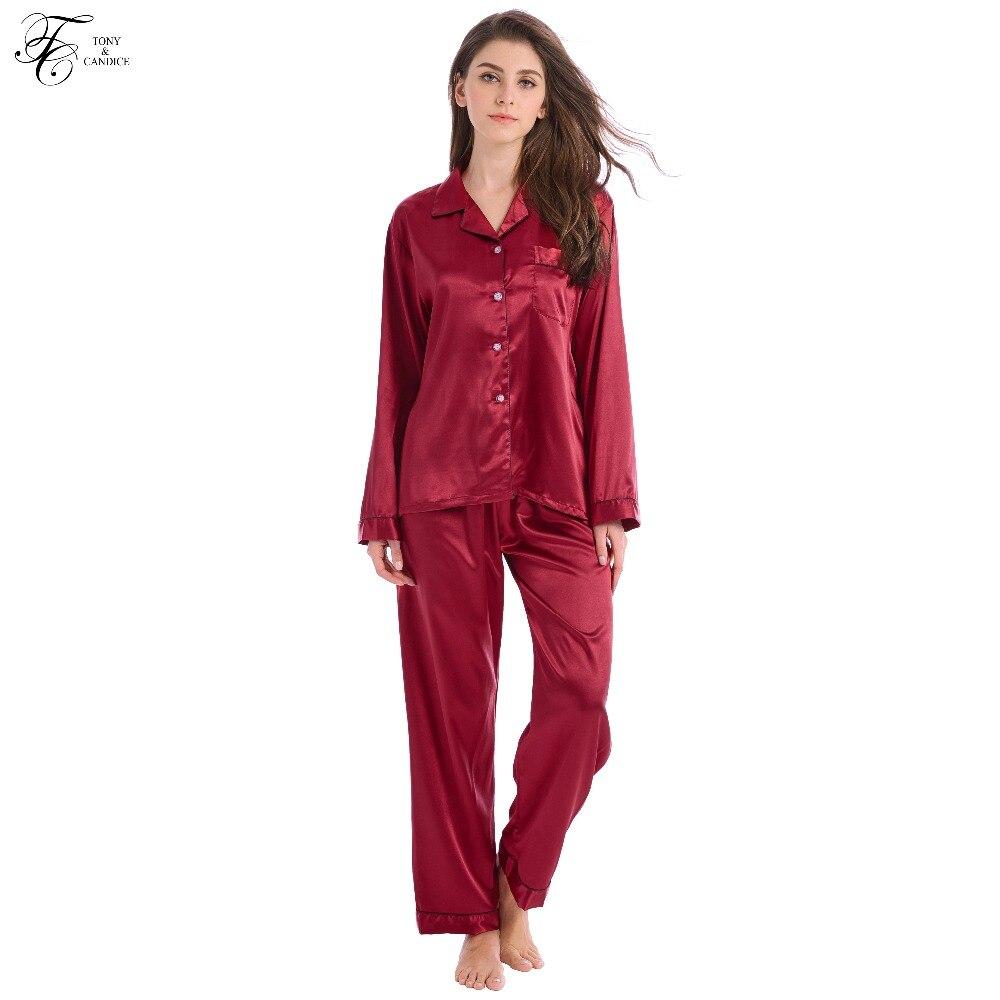 Tony & Candice Dames Zijden Pyjama 2-delige Set Satijn Zijden Pijama - Ondergoed - Foto 2
