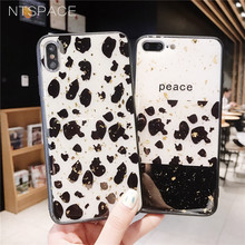 NTSPACE Leopard Pattern Glitter Phone Case For iPhone XR XS Max X Cute Flash Bling Back Cover 7 8 Plus 6 6S