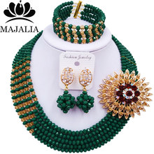 Majalia Luxury African Jewelry Set Opaque Dark green Crystal Bead Bride Jewelry Nigerian Wedding African Jewelry Sets 5AS028(China)