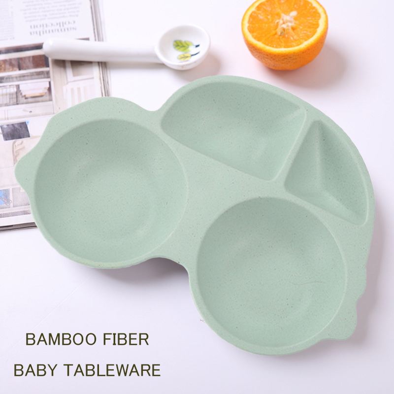 GZZT Kids Feeding Tableware Bamboo Fiber Green Cartoon Shape Dinnerware Sets Bowl Baby Children Plate
