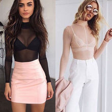 2017 Sexy Ladies Women's Long Sleeve Sheer Mesh See Through Plain Top T-