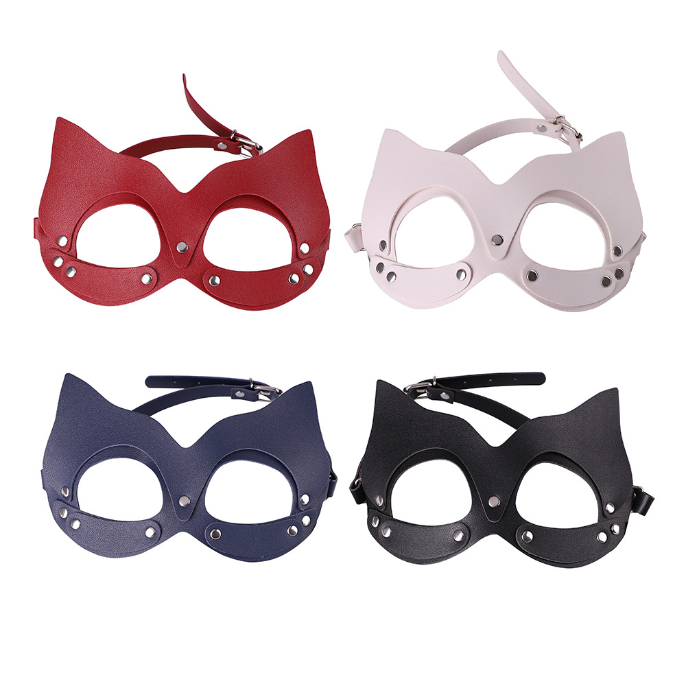 <font><b>Sexy</b></font> Women Bondage PU Leather Eye <font><b>Mask</b></font> Cat Hood Half Face <font><b>Mask</b></font> Masquerade <font><b>Halloween</b></font> Bondage Fetish Role Play Costume Party BDSM image