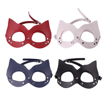 Sexy Women Bondage PU Leather Eye Mask Cat Hood Half Face Masquerade Halloween Fetish Role Play Costume Party BDSM