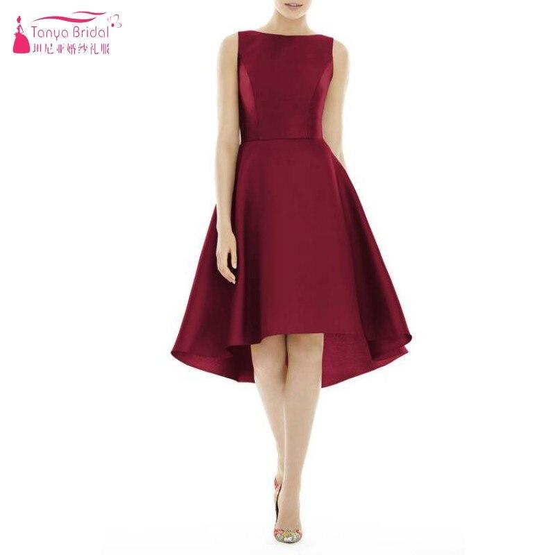 TANYA BRIDAL Red Blue Green Bridesmaid Dresses  Satin Short Knee Length Elegant Dress Women For Wedding Party  Dresses  JQ366
