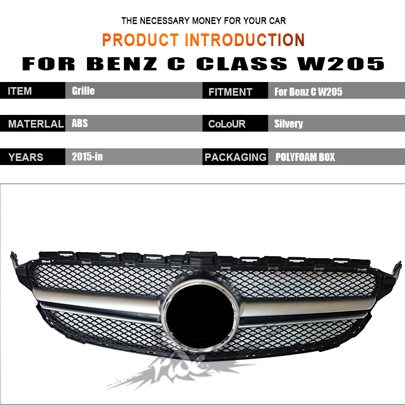For Benz W205 ABS Material Front Bumper C class C180 C200 C250 C300 Without Emblem Sport Style Silver Front Mesh Grille 2015 in in Racing Grills from Automobiles Motorcycles