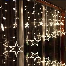 LAIMAIK AC110V ou 220 v Iluminação Do Feriado LED Estrela Cortina de Cordas de Fadas luminarias Guirlanda Decoração Do Casamento Do Natal Luz 2 m
