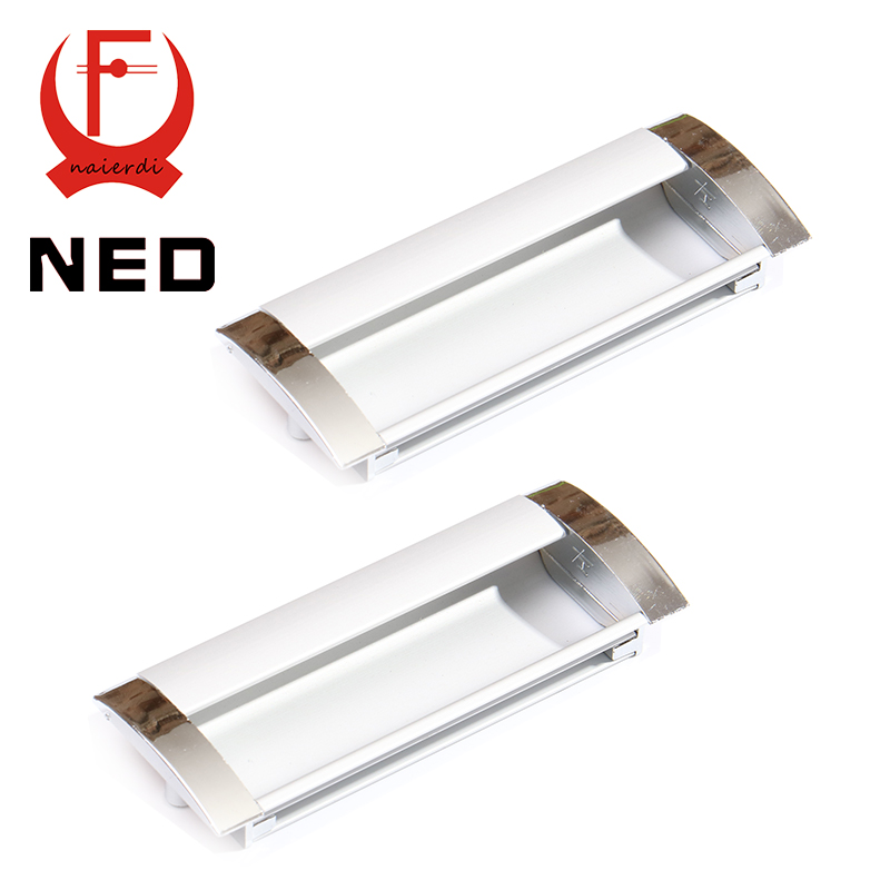 NED Deluxe 96MM Aluminum Alloy Casting Modern Embed Knobs Kitchen Cabinet Cupboard Door Drawer Handles Wardrobe Hidden Pulls