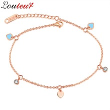 LOULEUR 2017 Rose Gold Color Love Heart Anklets for Women Foot Jewelry Titanium Steel Fashion Foot Chain Barefoot Sandals
