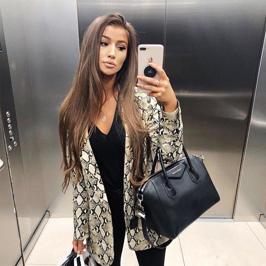 2019 Women England Style Snake Print Blazer Pockets Notched Collar Long Sleeve Coat Female Outerwear #5