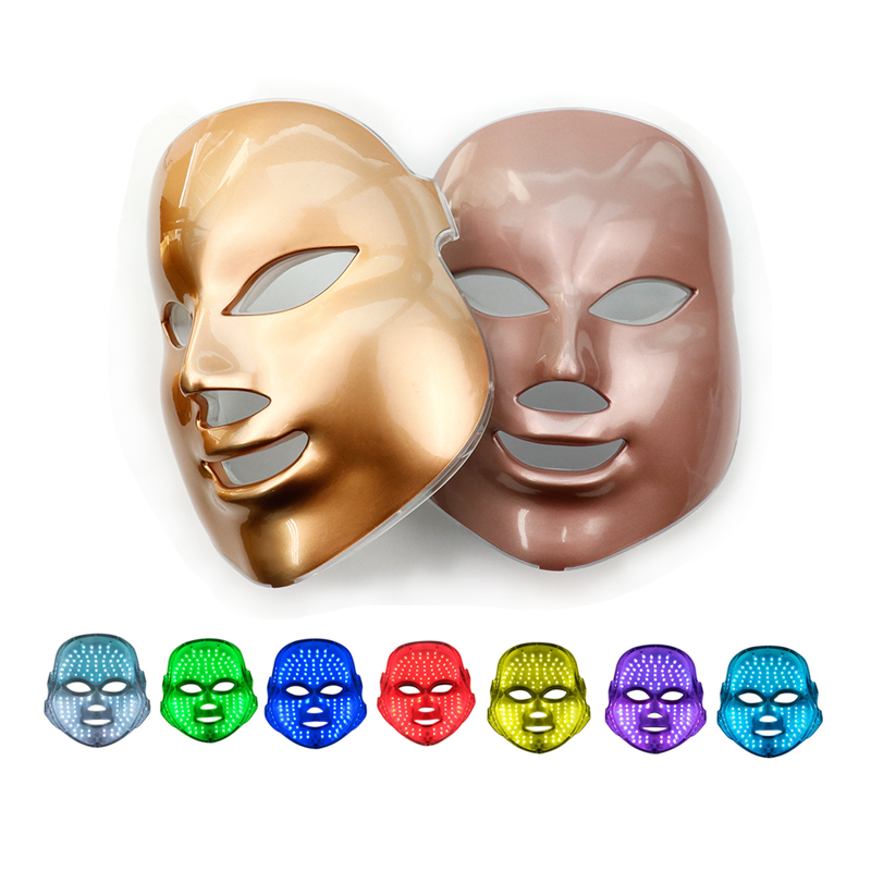 7 Colors LED Facial Mask Korean Photon Therapy Light Face Mask Beauty Machine Skin Care Rejuvenation Anti Acne Wrinkle Gold Mask new 3 color led light therapy face mask skin care photon rejuvenation acne remover beauty face skin care tools red green blue