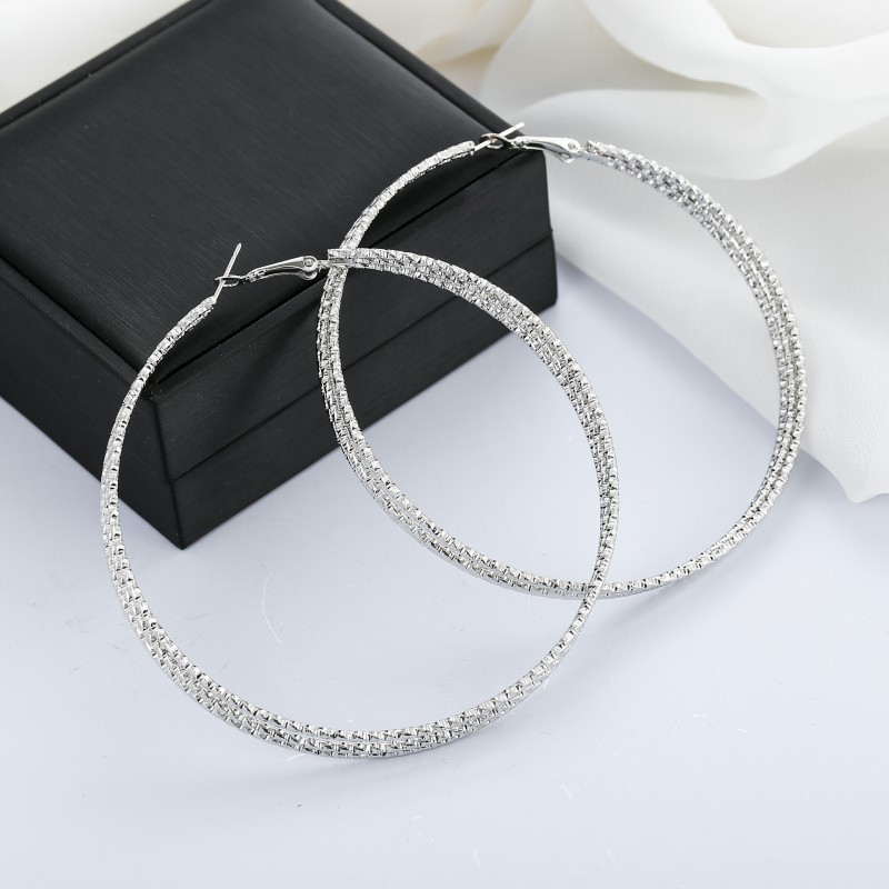 <font><b>3</b></font> Layered Gold/Silver Color Metal Large <font><b>Hoop</b></font> <font><b>Earrings</b></font> For Women Hyperbole Real Price Circle Round <font><b>Hoops</b></font> Creole Boucle D'oreille image