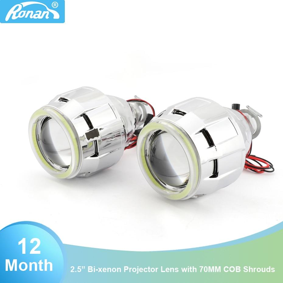 2.5 Bi-Xénon H1 objectif du projecteur phare de voiture DRL 70mm COB led angel eyes blanc H4 H7 base phare de moto style de voiture