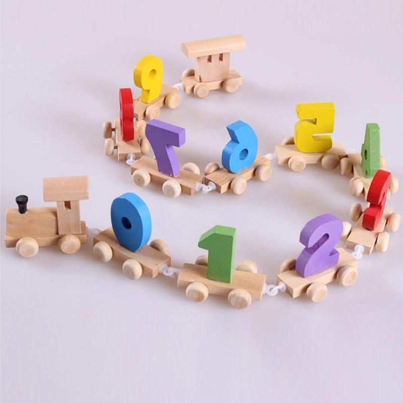 Kids Children Mini Digital Train Wooden Number Educational Toys Christmas Gift Railway Tools FJ88