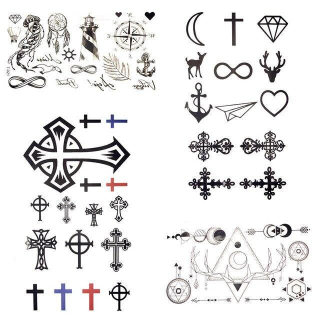 105x6 Cm Pequeños Gadgets Cruz Negra Tatuaje Temporal Mujeres