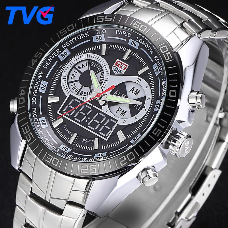 Prix pour Tvg mode sport montre homme quartz montres hommes étanche militaire montres led numérique horloge mâle montre-bracelet relogio masculino