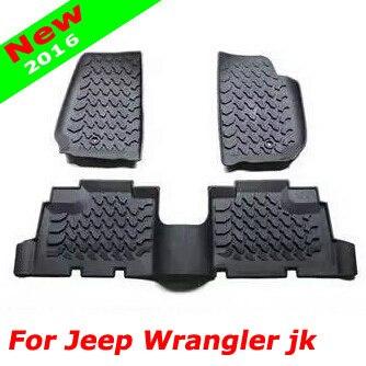 2016 Newest Hot Fashion 3D Slush Floor Mat Liner Mats Rubber Black For Jeep Wrangler jk