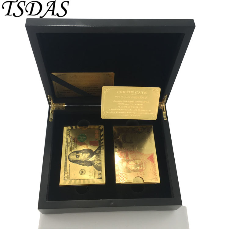 24k Gold Plated Playing Cards With 100 USD And UK 50 Pounds Design, 2 SET Poker Cards Pack in Black Wood Box