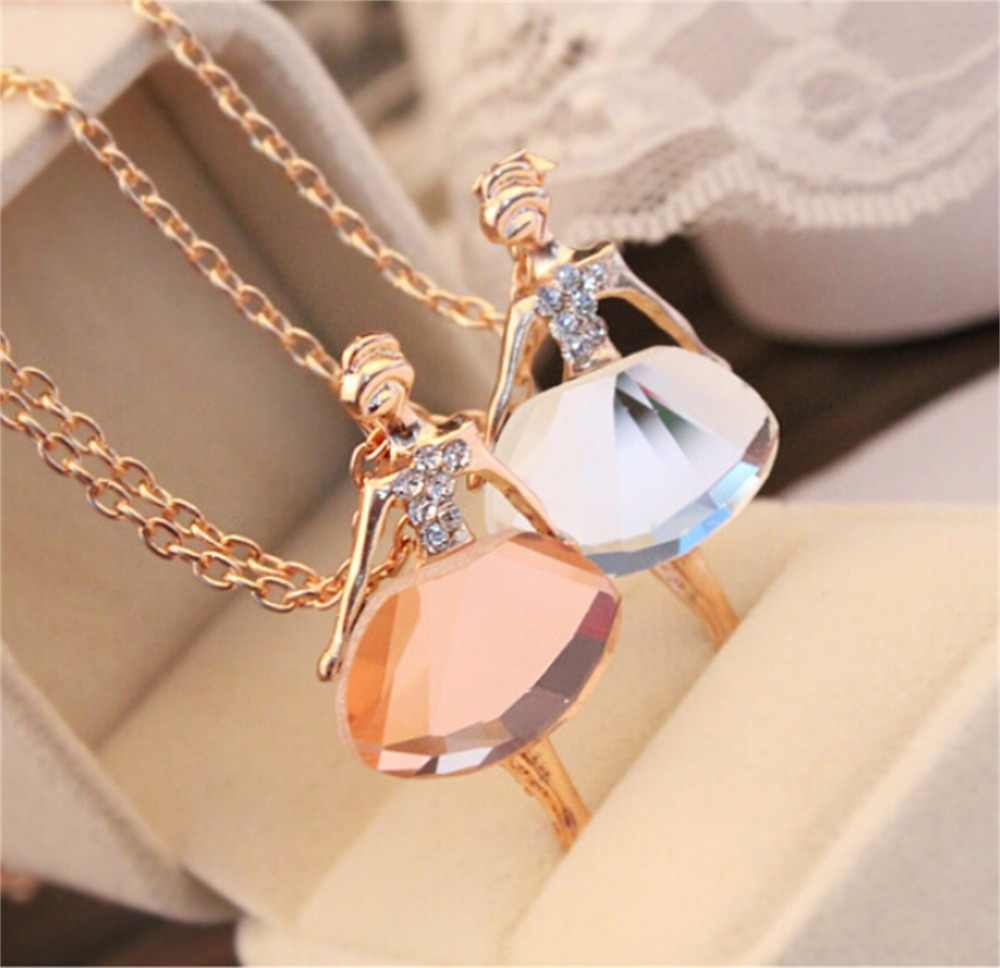 x22 New Fashion Dance Ballet Girl Crystal Pendant Necklace For Women Hot Sale Cute Sweet Female Doll Pendant Necklace Wholesale