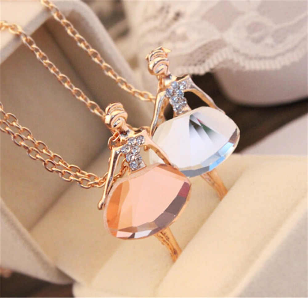 x22 New Fashion Dance Ballet Girl Crystal Pendant Necklace For Women Hot Sale Cute Sweet Female Doll Pendant Necklace Wholesale ...