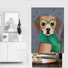 XIAOKENAI 85X120cm 85X90cm Linen Cotton Cartoon Dog Fish Animal Doorway Curtain Tube Left And Right Biparting Open Decor