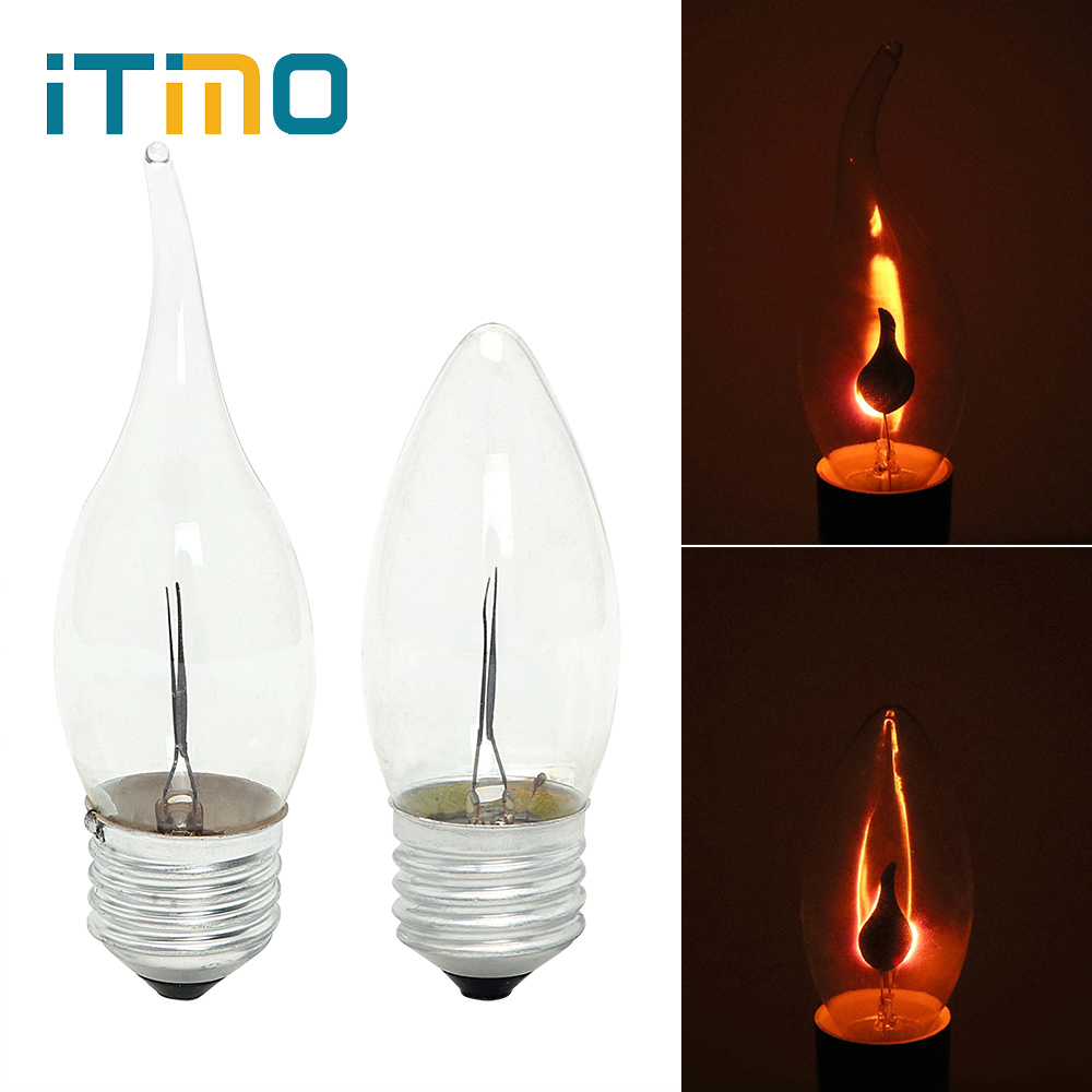 ITimo LED Edison Bulb E14 E27 3W Flame Fire Lighting Vintage Flickering Effect Tungsten Novel Candle Tip Lamp Orange Red