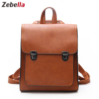 Zebella Vintage Fashion Women Backpack Women's PU Leather Backpack Girl School Bag Teenager Shoulder Bags Travel Bolsa Mochila