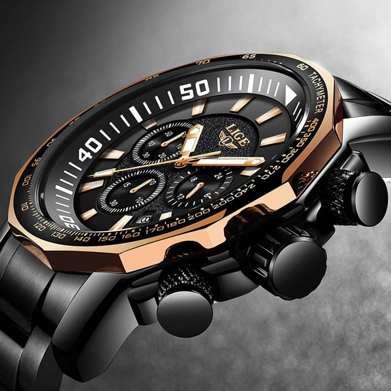 LIGE Top Brand Luxury Stainless Steel Watch Men Fashion Quartz Watch Men's Casual Waterproof Sport Wrist Watch Relogio Masculino все цены