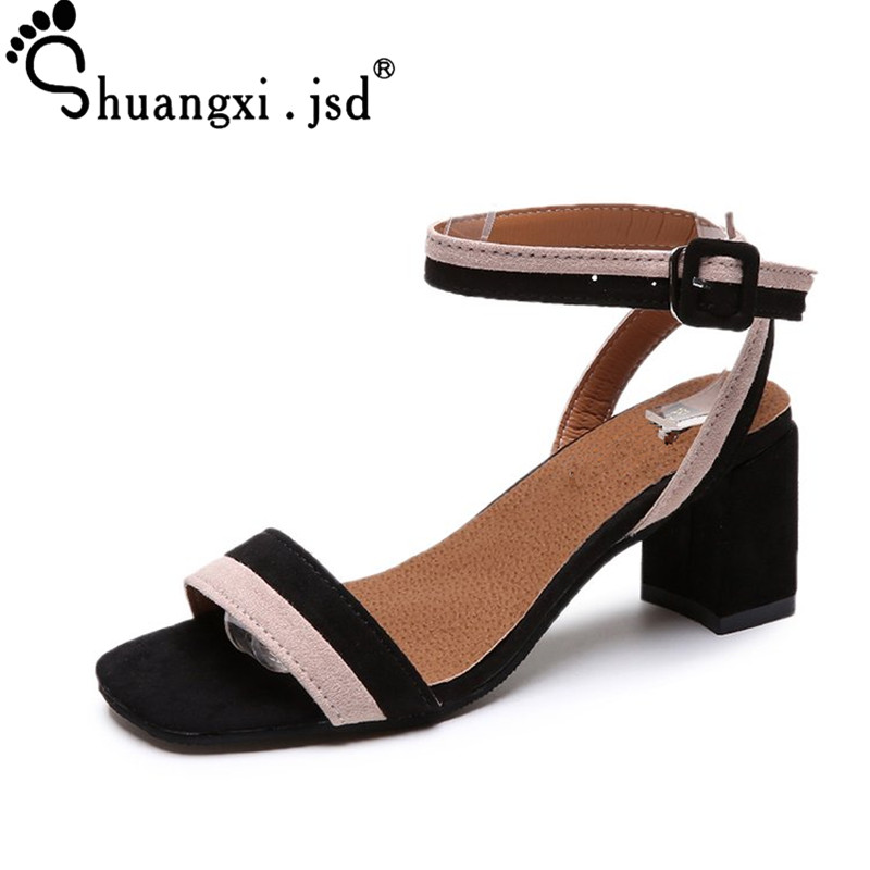 Women Shoes 2018 New Sandals Female Summer Wild High Heels Shoes Fashion Suede Shallow Women Sandals Normal Size 35-39 High 6CM new pompom wild thing fringe suede sandals women summer wlegance