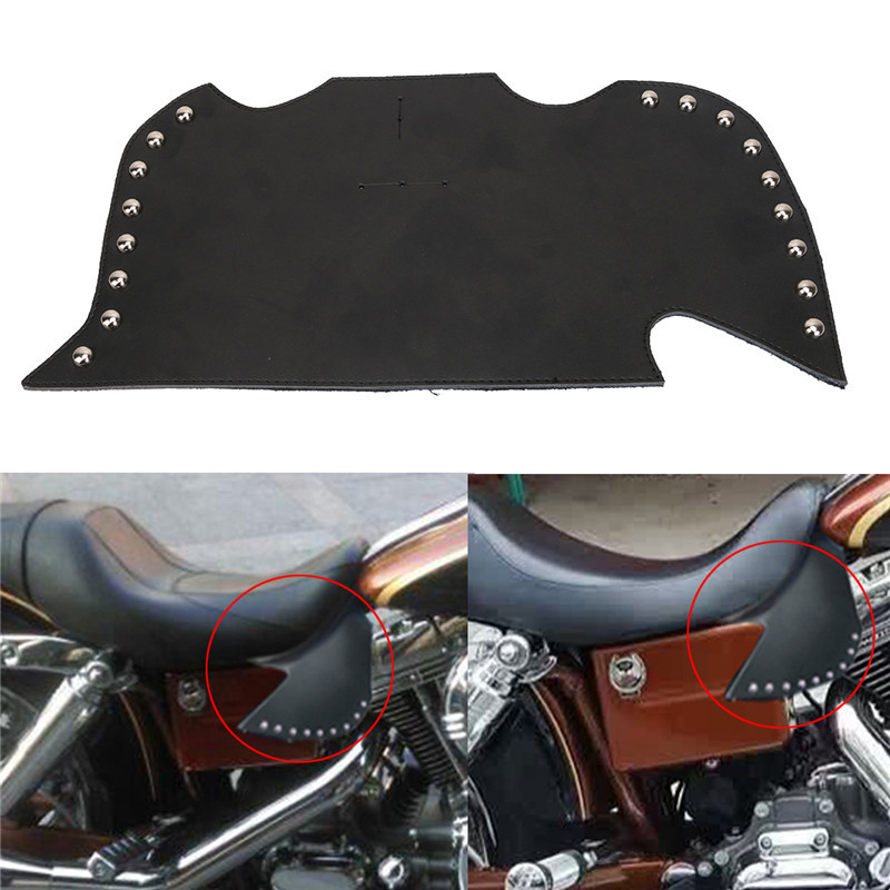 Motorbike Rivet Thigh Saddle Shield Heat Deflectors Plain Leather For Suzuki Kawasaki Yamaha Honda Harley Touring Softail Dyna